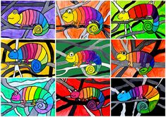 Malen Rainbow Chameleon Capture Red Carpet Looks with Pageant and Prom Dresses Article Body: The bes Classroom Art Projects, School Art Projects, Art Classroom, Cameleon Art, Square One Art, First Grade Art, Grade 3 Art, Art Rubric, Animal Art Projects
