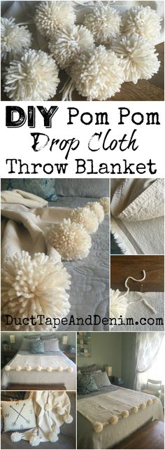 DIY pom pom drop cloth throw blanket tutorial on DuctTapeAndDenim.com #pompom #pompoms #dropcloth #dropclothproject #throwblanket #DIYblanket #DIYthrowblanket #howtomakepompoms #homedecor #farmhouse #farmhousestyle #farmhousehomedecor