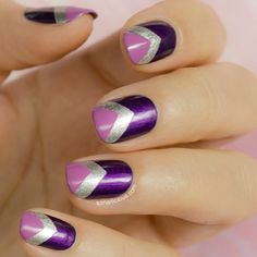 Purple, sliver & pink nails
