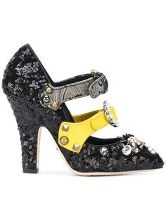 DOLCE & GABBANA buckle strap embellished pumps. #dolcegabbana #shoes #