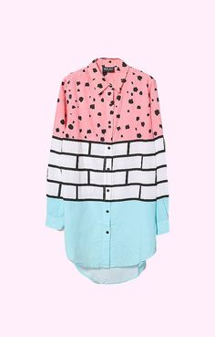 Let your imagination run wild with the Brick Scribble shirt by Lazy Oaf. A button down shirt with a flowy boyfriend silhouette lightens up with watermelon pink, hand-drawn scribbles and a mint dipped