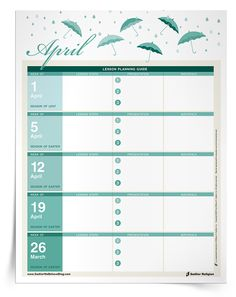 Download this helpful, printable calendar to help you organize your Religious Education course for the month of April. | Sadlier Religion www.SadlierWeBelieveBlog.com #Catechist #Catechists