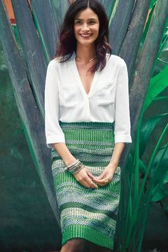 White Wrap Top and Tropical Green Skirt