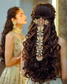 Bridal Hairstyle Indian Wedding, Bridal Hairdo, Indian Bridal Hairstyles, Bride Hairstyles, Hairstyle Ideas, Hairstyle Images, Saris, Long Hair Wedding Styles, Long Hair Styles