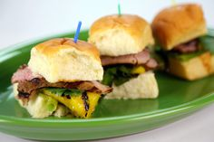 Hawaiian Pork Tenderloin Sliders from Chef Roble Ali's appearance on The Chew.  Everybody on the show and an audience member LOVED these sandwiches.