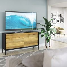 delong Solid Wood TV Cabinet modern Minimalist Style Living Room solid Wood Furniture