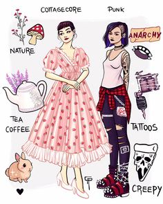 Fashion Styles Medical Clip Art, Tea Tattoo, Arte Do Kawaii, Strawberry Dress, Beautiful Series, Punk, What To Draw, Drawing Clothes, Drawing Stuff