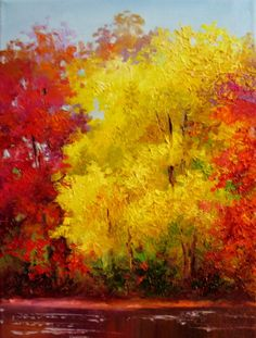 fall paintings on canvas | Nel's Everyday Painting: Yellow Fall Tree - SOLD