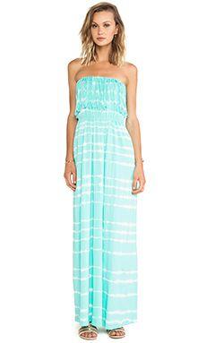Bobi Light Weight Jersey Strapless Maxi Dress in Aqua | REVOLVE