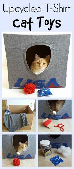 EL MUNDO DEL RECICLAJE: DIY casa para tu gato con material reciclado