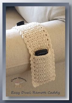 Easy Dual Remote Caddy - free crochet pattern at Crochet Memories I think many of us start thinking of ways to organize with the New Year. For me, it was designing this dual remote caddy to house both remotes we now Crochet Home, Crochet Gifts, Diy Crochet, Crochet Bags, Crochet Ideas, Tunisian Crochet, Crochet Stitches, Remote Caddy, Remote Holder