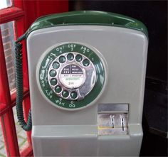 Good old fashioned telephone box, put your coins in and wait for the pips.
