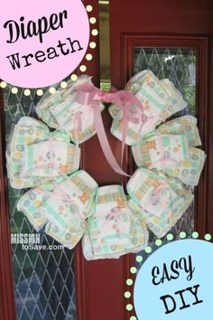 DIY Diaper Wreath make a perfect gift idea to Welcome Baby Home! (and it's a cute decor item too)