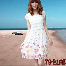 [VIP Exclusive] 2013 summer new Korean Slim openwork lace floral chiffon short sleeve dress summer from taobao