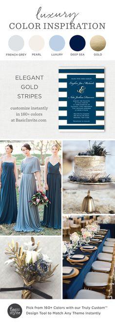 Elegant Gold Stripe Wedding Invitations, Blue Wedding Inspiration, Luxury Wedding Invitations