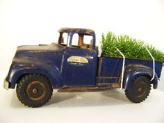 Search ebay and etsy for a vintage tonka to put on a shelf in his room as a keepsake. 1950s Tonka Pickup Truck by lookinglasshouse on Etsy. $60.00, via Etsy.