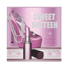 Pink Sweet Sixteen 16 Party Shoe Lipstick Personalized Invites by Zizzago