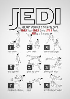 No-equipment jedi bodyweight workout for all fitness levels. Visual guide: print & use. (print this for kids to take in folder to the Y) Movie Workouts, Hero Workouts, At Home Workouts, Weight Workouts, Fitness Exercises, Jedi Workout, Superhero Workout, Superman Workout, Parkour Workout