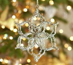 Pottery Barn Christmas Ornaments. I could so diy with silver pipe cleaners, like Martha Stewart did.
