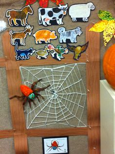 My Very Busy Spider - web on a fence near our classroom tree. Below is the name of the book above is all the animals. The spider i made out felt and painted colors on it My classroom walls have carpet. It's great using Velcro on it. So much fun. Each day we read 3 animals and I started weaving the web. Adding more animals and re reading the prior pages . The spider moves around and ends with a fly stuck in The middle of the web. Tons of fun