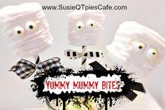 Yummy Mummy Halloween Bites & other mummy crafts & recipes #halloween