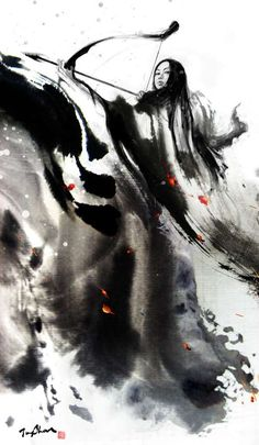 Calligraphic Asian Artistry  Jungshan Paints Provacative Images with Stylishly Smeared Ink
