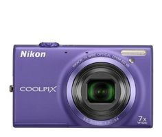Nikon COOLPIX S6100 16 MP Digital Camera with 7x NIKKOR Wide-Angle Optical Zoom Lens and 3-Inch Touch-Panel LCD (Violet) by Nikon. $129.00. From the Manufacturer                 Brilliant images anywhere. Powerful Finally, a camera you can take everywhere you go. The COOLPIX S6100 is small enough to fit in a purse, pocket, or glove compartment—and powerful enough to capture landscapes, close ups, and portraits. This compact camera has a 16.0-megapixel CCD sensor tha...