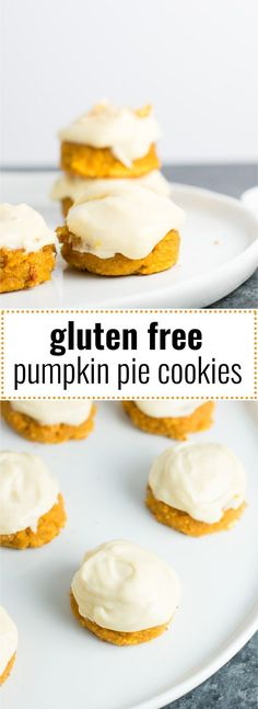 These gluten free pumpkin pie cookies with cream cheese greek yogurt frosting will make you feel like you're biting into a slice of cool pumpkin pie! #pumpkinpie #glutenfreepumpkincookies #glutenfreecookies #pumpkinrecipes