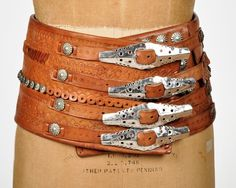 1940's Hand Tooled 4 buckle / leather belt