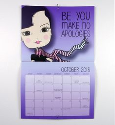 Motivational Wall Calendar October 2018 Calendar 2018, How To Apologize, Layout Design, Motivational, October, Templates, Holiday, How To Make, Stencils