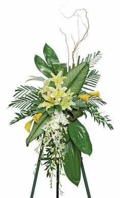 Ti Leaves Standing Funeral Spray, Nationwide Funeral Flower D Funeral Floral Arrangements, Tropical Flower Arrangements, Funeral Bouquet, Funeral Flowers, Casket Flowers, Funeral Sprays, Casket Sprays, Memorial Flowers, Cemetery Flowers