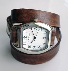 love this... Leather Watch Wrap Bracelet - Made to Order - Distressed Walnut Brown - Leave Me Your Wrist Measurement $49