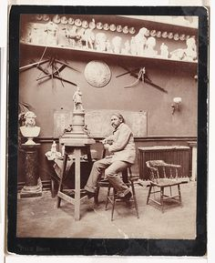John Quincy Adams Ward  Description: Ward in his studio with a model of a sculpture photographed by Pach Brothers, ca. 1887; and a cabinet photo of Ward photographed by Wilhelm, ca. 1900.