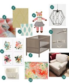 Nursery Selections. cute without lighting, stuffed animal, mobile, and basket...not my taste.
