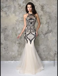 White organza halter Style 4101 evening dress with black mesh detail (Nina Canacci)