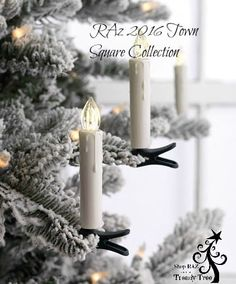 """RAZ Clip on Candles with Remote Box of 10  Box of 10 candles + Remote Made of Plastic Measures 3"""" Lights Approx 15,000 Hours Functions: On/Off, Slow/Fast Flicker and Dimmer Ea Candle Requires 1 AAa Battery,Remote Includes Cr2025  RAZ 2016 Town Square Collection"""