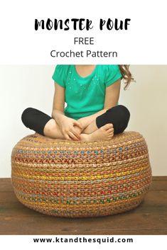 Stash Busting Monster Pouf: A Free Crochet Pattern Crochet Pouf Pattern, Knitted Pouf, Crochet Cushions, Crochet Home Decor, Knit Or Crochet, Crochet Crafts, Crochet Stitches, Crochet Projects, Free Crochet