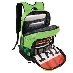 Minecraft Creeper Kids Green School Bag - Large for sale online Green Backpacks, Girl Backpacks, School Backpacks, Minecraft Backpack, Childrens Luggage, Green Characters, Backpack Travel Bag, Laptop Backpack, Green Bag