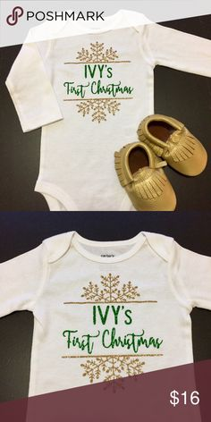 First Christmas Glitter Onesie Celebrate baby's first Christmas with a holiday themed name Onesie! Available in long sleeve white Onesie in light gold and green glitter.   Please leave a note what name you wish to put on the onesie before checking out. Available in NB 3M 6M 9M 12M 18M. One Pieces Bodysuits
