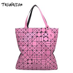 68a76686b4 Aliexpress.com   Buy Geometric Totes Bags Female Baobao Bag Diamond Lattice  Bowstring Lightning Japanese Folded Large Capacity 10 10 Women Handbag from  ...