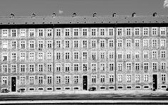 Kay Fisker Hornbaekhaus, Copenhagen A perimeter block of repeating openings enclosing a residents garden.