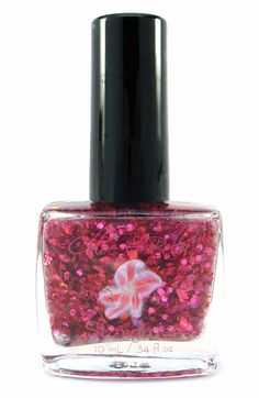 STARGAZER NAIL POLISH www.chloeandbella.com Stargazer is a summery polish that is composed of a light pink shimmering base. It's then enhanced with copious amounts of fuchsia, pink, red, and purple holographic and metallic glitters. Finally, the finishing touch is added with a small amount of yellow dots.