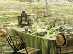 Deco table champetre verte