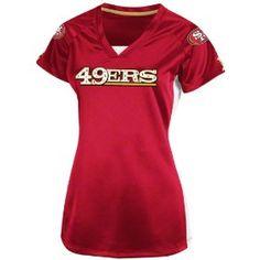 2004a18884b Amazon.com   NFL Womens San Francisco 49Ers Draft Me V Short Sleeve Raglan  V-Neck Tee By Majestic (Brt Cardinal White H.Gold