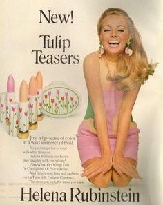 1960s Helena Rubenstein Tulip Teasers Lipsticks advert.