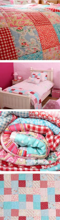 A quality patchwork quilt in shades of pink and turquoise. Perfect for a girls bedroom of all ages, so there is no need to change the bedding as they get older.