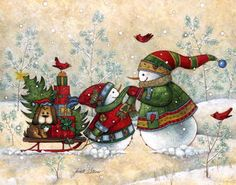"""Holiday Delivery"" by Janet Stever, artist and illustrator, from the Snow Family Series."