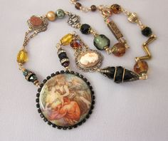 Repurposed Vintage Rhinestone Necklace, Cameo, Goldstone, Black, Green, Amber Bead Necklace, Gold Filled Artisian OOAK Assemblage Jewelry