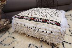 Moroccan Floor Pillow Wedding Blanket Handmade Handira Sequins Ottoman Pouf