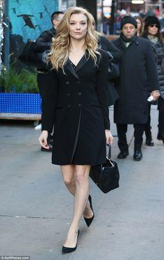 Menswear: Natalie donned a tuxedo-inspired peacoat for her city stroll...
